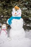 Snowman at the children`s winter festival. For the winter holiday Stock Photography