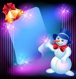Snowman, chiming bells and signboard Royalty Free Stock Photography