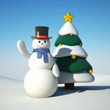 Snowman and chistmas tree Stock Image