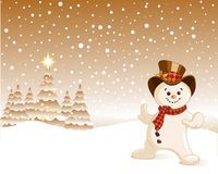 Snowman Christmas background stock illustration