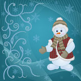 Snowman on Christmas Background. Christmas card for design use, vector illustration vector illustration
