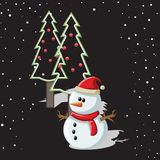Snowman with Christmas background and greeting card vector Stock Image