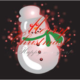 Snowman with Christmas background and greeting card vector Royalty Free Stock Photography