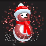 Snowman with Christmas background and greeting card vector Royalty Free Stock Images
