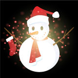 Snowman with Christmas background and greeting card vector Stock Photography