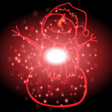 Snowman with Christmas background and greeting card vector Royalty Free Stock Photos
