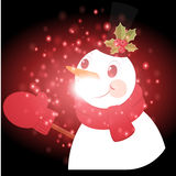 Snowman with Christmas background and greeting card vector Stock Photo