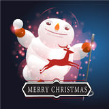 Snowman with Christmas background and greeting card vector Stock Images