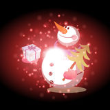 Snowman with Christmas background and greeting card vector Royalty Free Stock Image