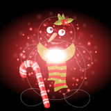 Snowman with Christmas background and greeting card vector Stock Photos