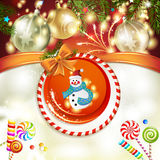 Snowman and Christmas ball Royalty Free Stock Photo
