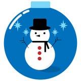 Snowman in a christmas ball Stock Photos