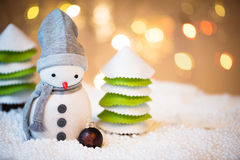 Snowman with Christmas ball Stock Photos
