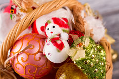Snowman with Christmas balls in the basket. Basket with toys Stock Images