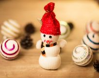 Snowman with Christmas balls Royalty Free Stock Photo