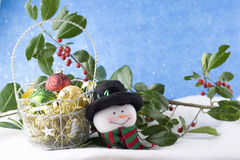 Snowman and christmas baubles in basket Royalty Free Stock Image