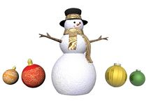 Snowman and Christmas baubles - 3d render Royalty Free Stock Photography