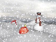 Snowman and Christmas baubles - 3d render Royalty Free Stock Photo