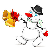 Snowman with Christmas bells Stock Photo