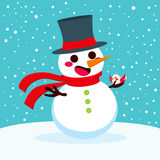Snowman Christmas With Bird Stock Image