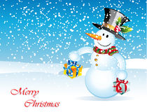Snowman Christmas Card. Merry Christmas Greetings card with cartoon snowman Royalty Free Stock Images