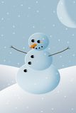Snowman Christmas Card. Christmas Card background design of a winter snowman with moon and falling snow Stock Image
