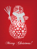 Snowman christmas card. With snowflakes Royalty Free Stock Images