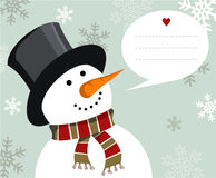 Snowman Christmas card. Snowman illustration wearing hat and scarf with dialogue balloon on snowy background.  Vector file available Stock Photography