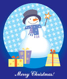 Snowman christmas card. Christmas card with snowman and gift box Royalty Free Stock Photography