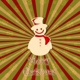Snowman in Christmas card. Illustration of snowman in vintage Christmas card Stock Images