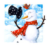Snowman christmas card. Close up christmas card of a happy snowman and robin Royalty Free Stock Photography