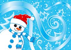 Snowman Christmas card. Vector illustration Royalty Free Stock Photos