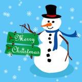 Snowman Christmas card-3 Stock Photos
