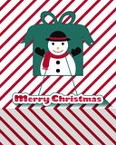 Snowman christmas card. Red and white line snowman christmas card Royalty Free Stock Photo