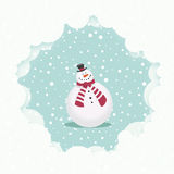 Snowman christmas card. Snowman in a snowfall. Christmas card illustration Royalty Free Stock Image