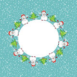 Snowman Christmas card template Royalty Free Stock Image
