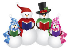 Snowman Christmas Carolers Illustration. Snowman Family Christmas Carolers with Hat and Scarf Isolated on White Background Illustration Royalty Free Stock Photography