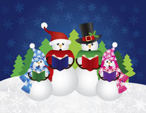 Snowman Christmas Carolers Snow Scene Illustration. Snowman Family Christmas Carolers with Hats and Scarf Isolated on Snow Scene Background Illustration Royalty Free Stock Image