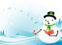 Snowman Christmas Carolling Stock Image