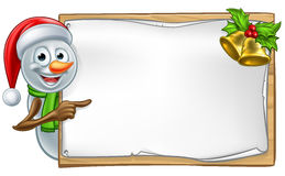 Snowman Christmas Cartoon Sign Stock Images
