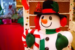 Snowman in Christmas celebration and new year party. In the night Royalty Free Stock Images