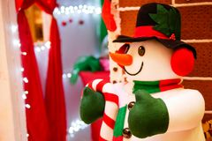 Snowman in Christmas celebration and new year party. In the night Stock Images