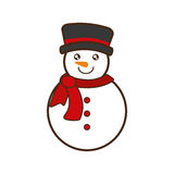 Snowman christmas character isolated icon. Vector illustration design Stock Photography
