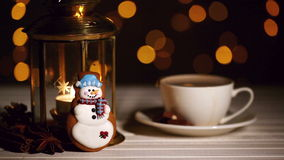 Snowman Christmas cookie stock video footage