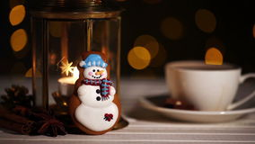 Snowman Christmas cookie stock footage