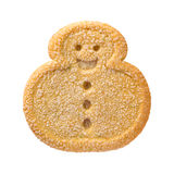 Snowman Christmas Cookie. With sprinkles. The point of view is from above. The subject is isolated on white Royalty Free Stock Image