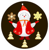 Snowman and Christmas cookies Stock Photos