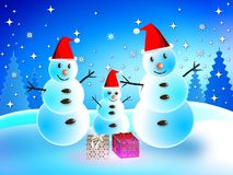 Snowman on Christmas Day. Royalty Free Stock Photos