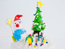 Snowman on Christmas Day. Royalty Free Stock Images