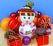 Snowman and christmas decoration. Stock Photography